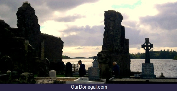 The Abbey Ruins And Graveyard Overlooking Donegal Bay At The Eske Estuary