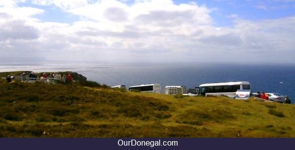 Tour Buses At Slieve League Cliffs