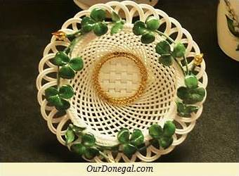 Shamrock-Decorated Basket By Celtic Weave China, South Donegal, Ireland