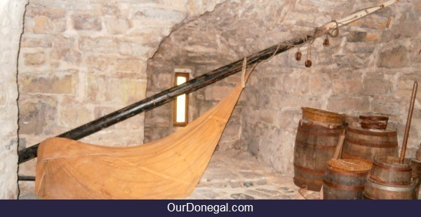 Mast And Sail From An Old Ship, With Barrels, In O'Donnell's Castle Donegal Town
