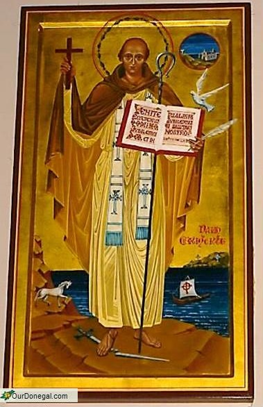 Saint Columba Of Donegal And Iona. Raphoe Diocese Icon By Sister Aloysius McVeigh