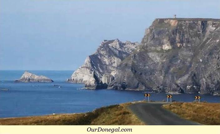 Triple Story Martello Tower Dwarfed By Glen Head Sea Cliffs Near Glencolmcille