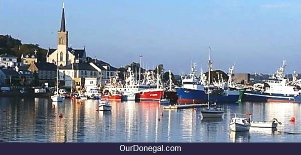 Saint Mary's Church And Killybegs Harbor In Donegal Ireland