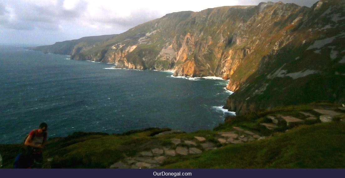 Ascending Slieve League Cliffs By Cliff-Top Path High Above The Atlantic