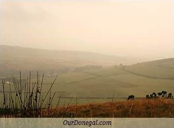 Misty Fields On Donegal Hills In Ireland, Seen From Grianan Of Aileach, Inishowen