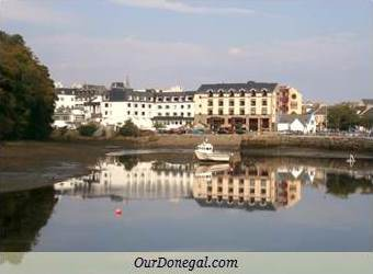 Hotels In Donegal Town Reflected In The Estuary, County Donegal, Ireland